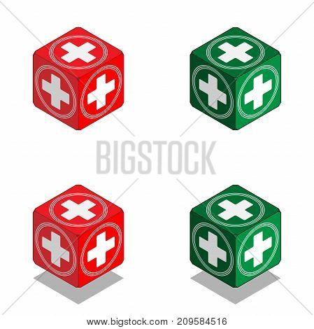 Cube with medical cross in isometric view vector cube of health