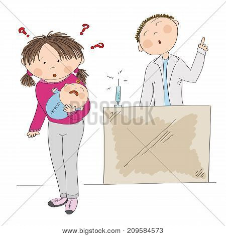 Puzzled young mother holding her baby boy, thinking about vaccination and autism risk. Doctor standing behind, arguing her into immunization. Original hand drawn illustration.