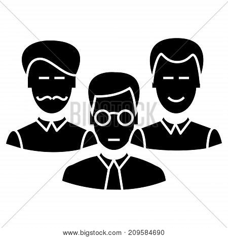 engineers team  icon, vector illustration, black sign on isolated background