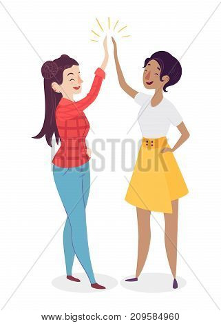 Women giving high five. People having a vibrant social life. Human interaction concept. Female team