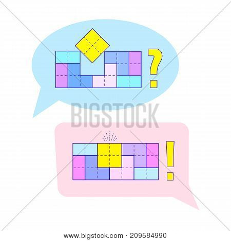 Question and answer concept with puzzles in speach bubbles. Vector illustration