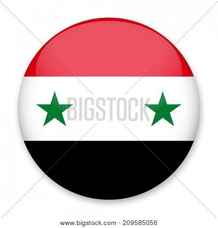 Flag of Syria in the form of a round button with a light glare and a shadow. The symbol of Independence Day, a souvenir, a button for switching the language on the site, an icon.