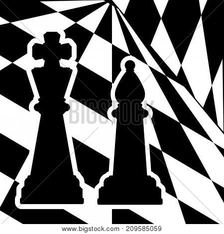 Chessboard with a chess pieces King and Bishop. Traditional Christmas holiday game.