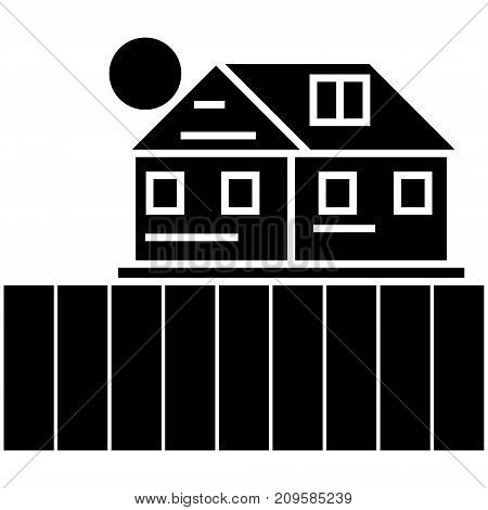 farm field  icon, vector illustration, black sign on isolated background