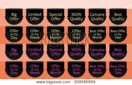 Offer ribbon set ribbon banner black ribbon bookmark vector quality label. Big offer Limited offer Special offer Genuine quality Best quality Hundred percent