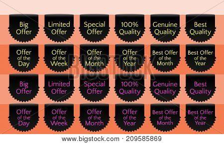 Offer ribbon set ribbon banner black ribbon bookmark vector quality label. Big offer Limited offer Special offer Genuine quality Best quality Hundred percent poster