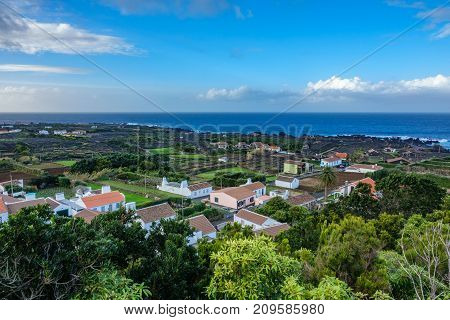 Top view of Biscoito town with vineyards in Terceira island