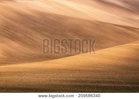 Abstract image of Moravian fields in Moravia Czech Republic around the village Kyjov as a background or texture