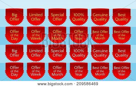 Offer ribbon set ribbon banner red ribbon bookmark vector quality label. Big offer limited offer special offer genuine quality best quality hundred percent