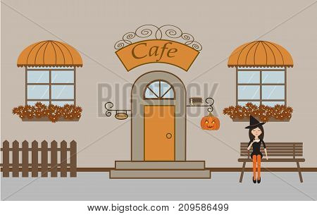 Pretty scenery in a rustic style. A cafe, beautiful girl, two windows with a striped awnings, door, stairs, flowers.A cute bench. A fence. A pumpkin. Helloween.Vector illustration