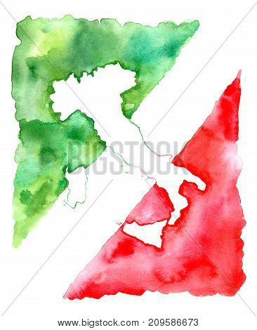 Map of Italy.Abstract flag.Watercolor hand drawn illustration.