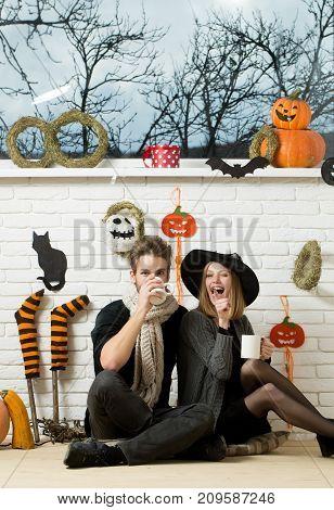 Halloween Macho Drinking In Scarf