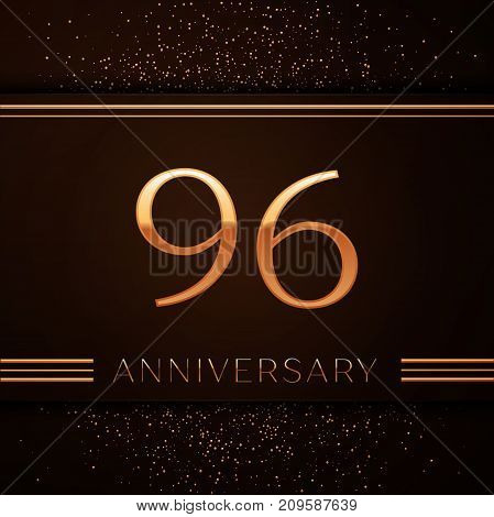 Realistic Ninety six Years Anniversary Celebration Logotype. Golden numbers and golden confetti on brown background. Colorful Vector template elements for your birthday party