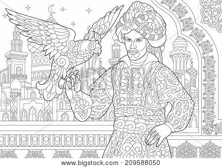 Coloring page of ottoman sultan and falcon bird. Islamic filigree decor arabic mosque moon and stars on the background. Freehand sketch drawing for adult antistress coloring book in zentangle style.