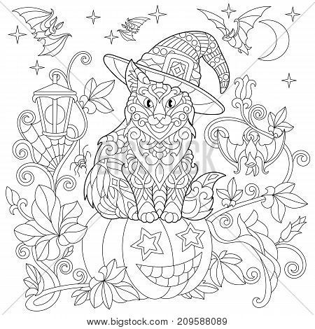 Halloween coloring page. Cat in a hat halloween pumpkin flying bats spider web hanging lantern moon and stars. Freehand sketch drawing for adult antistress coloring book in zentangle style.