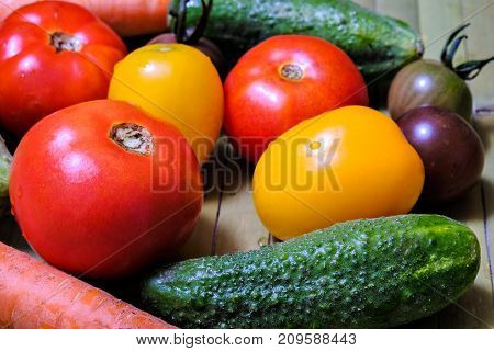 colourful still life of fresh vegetables for salad