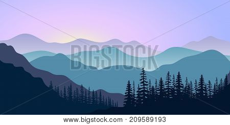 landscape with silhouettes of mountains and forest at sunrise. Vector illustration. mountains, hills, trees, mist, sun beam with sunrise or sunset sky. For prints, posters, wallpapers, web, background