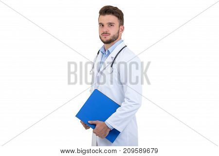 Male Doctor standing with folder, isolated on white background.