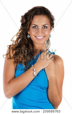 Young beauty lady with blue dress and luxury accessories isolated on white background