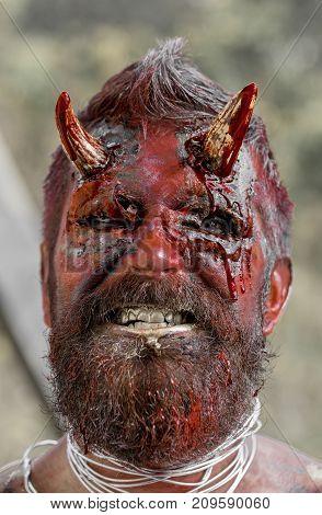 Halloween Demon Man With Beard Showing Teeth