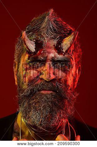 Halloween Man Devil On Red Background