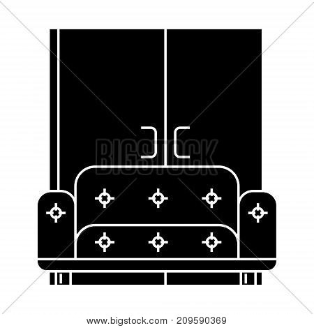 living room, sofa, wardrobe  icon, vector illustration, black sign on isolated background