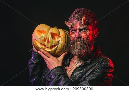 Halloween Devil With Bloody Horns On Head