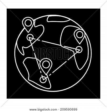 logistics global delivery, globe  icon, vector illustration, black sign on isolated background