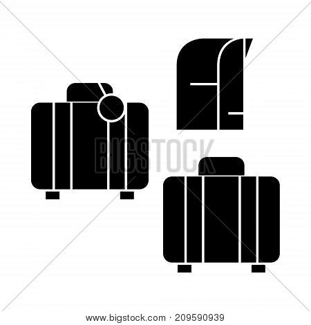 luggage  icon, vector illustration, black sign on isolated background