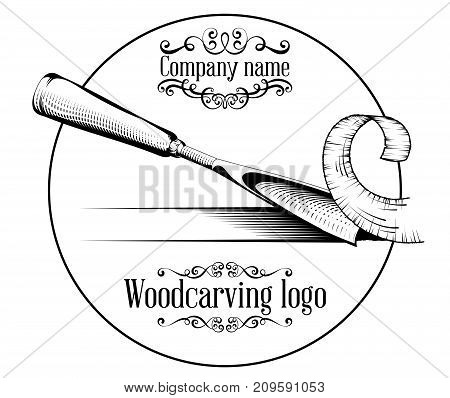Woodcarving Logotype Illustration With A Chisel, Cutting A Wood Slice, Vintage Style Logo, Black And
