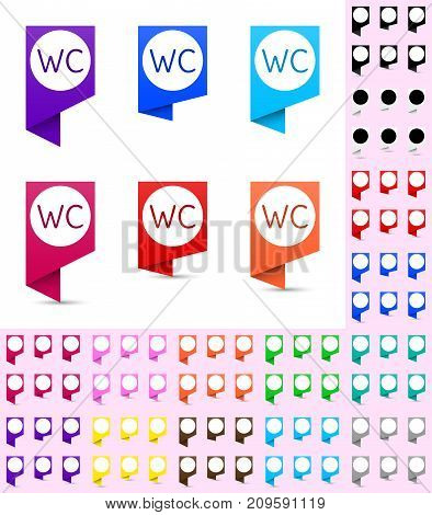 Map marker or pointer angular marker mock up with round white background in different colors. Ready marker template for your various icons. WC icon is shown as an example.
