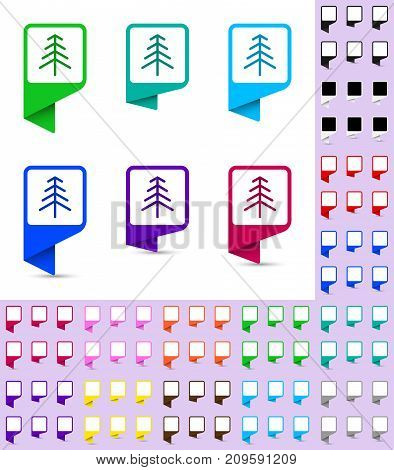 Map marker or pointer rounded marker mock up with square white background in different colors. Ready marker template for your various icons. Icon of christmas tree is shown as an example.