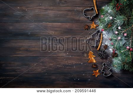 Background For Christmas Baking, Fir, Balls, Beads, Cones, Spicy Christmas Background.