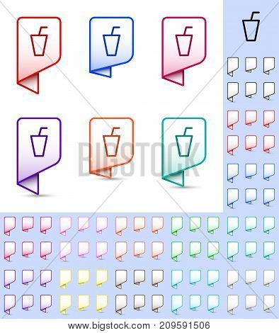 Map marker or pointer rounded marker mock up with color frame and white background. Ready marker template for your various icons. Icon of glass with drink is shown as an example.
