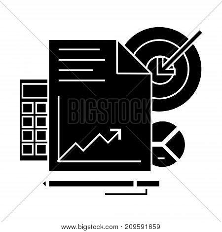 marketing analytics  icon, vector illustration, black sign on isolated background