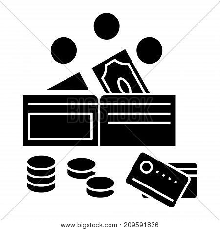 money  icon, vector illustration, black sign on isolated background