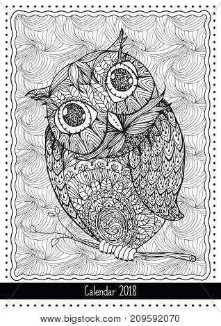 Christmas Owl, calendar cover design for 2018 year. Black and white mono linear coloring book page. Hand drawn illustration in doodle style for adult coloring book or page design