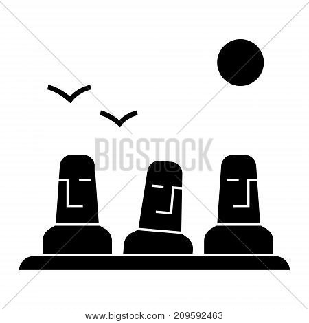 monolith, megalith, easter land  icon, vector illustration, black sign on isolated background
