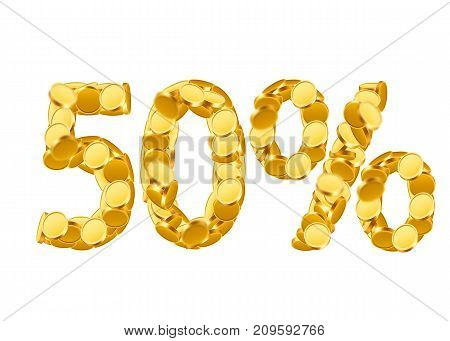 50 percent price cut off. Golden discount coins letters isolated on white background. Vector illustration