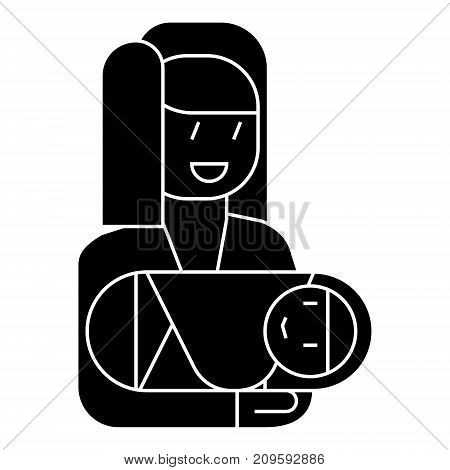 mother with newborn  icon, vector illustration, black sign on isolated background