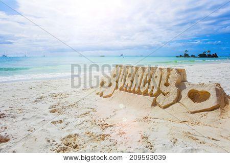 Sand castle on White Beach, Boracay Island, Philippines