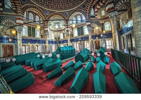 ISTANBUL, TURKEY - October 2, 2017: Interior of the Tomb of Sultan Selim II located on the territory of Hagia Sophia museum complex, by architect Sinan