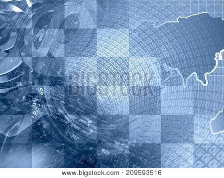 Abstract digital background in blues - map digits and mail signs.