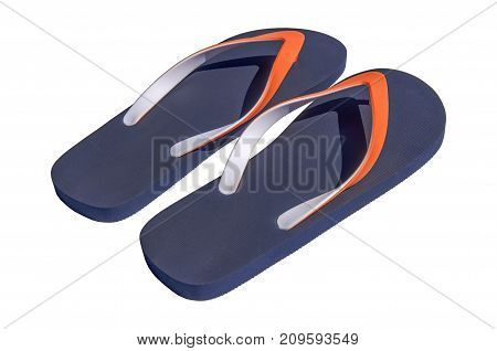 Man lifestyle four relax flip flops on side isolated on white