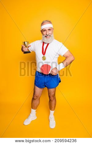 Competetive Cool Healthy Modern Successful Active Grandpa With Table Tennis Equipment. Healthcare, W