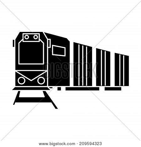 railway logistics, train, cargo  icon, vector illustration, black sign on isolated background