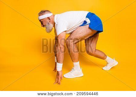 Side Profile View Of Mature Cool Macho Competetive Pensioner Grandpa, Leader, Champion. Bodycare, He
