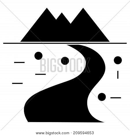 road winding to mountains  icon, vector illustration, black sign on isolated background