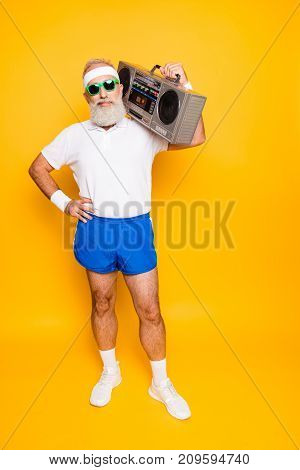 Crazy Aged Funny Active Sexy Athlete Pensioner Grandpa In Eyewear With Bass Clipping Ghetto Blaster