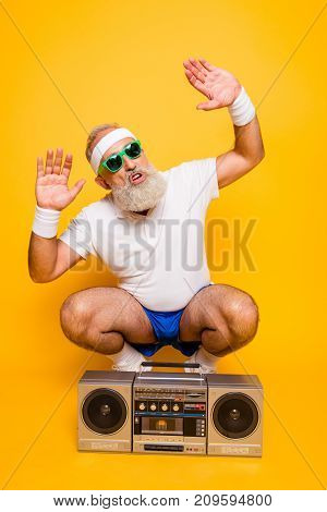 Yeah Bro! What`s Up? Cheerful Excited Aged Funny Sexy Gangster Cool Grandpa Dude In Eyewear With Bas